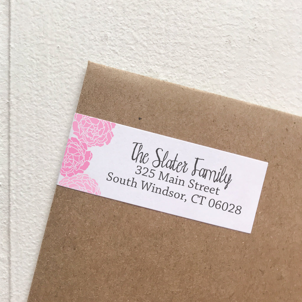 wrap address labels - peonies