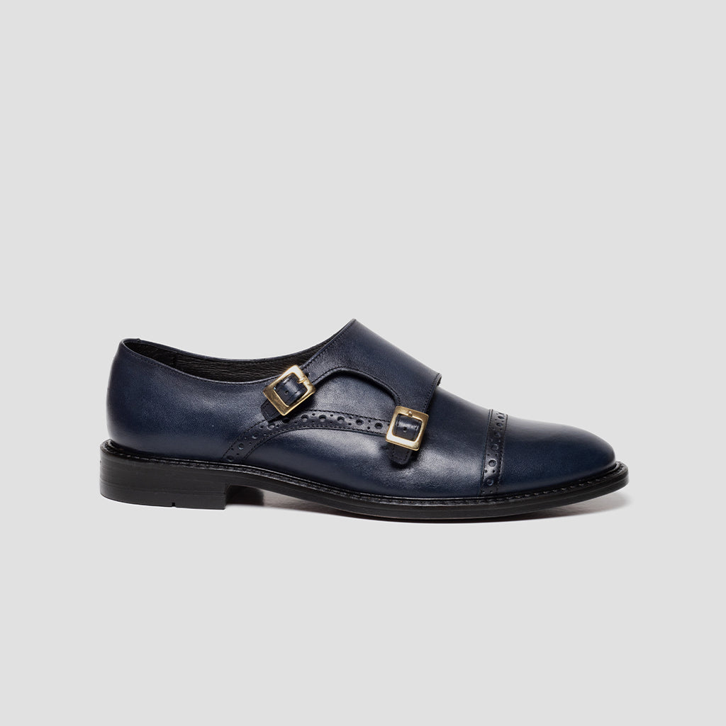 Double-Monk strap punt. recta Mujer | mod. 3022 Azul