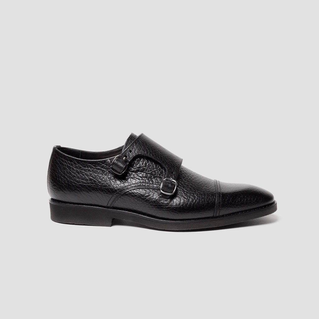 Double Monk-strap punt. recta ultraligero Walk | mod. 9952 Negro bisonte