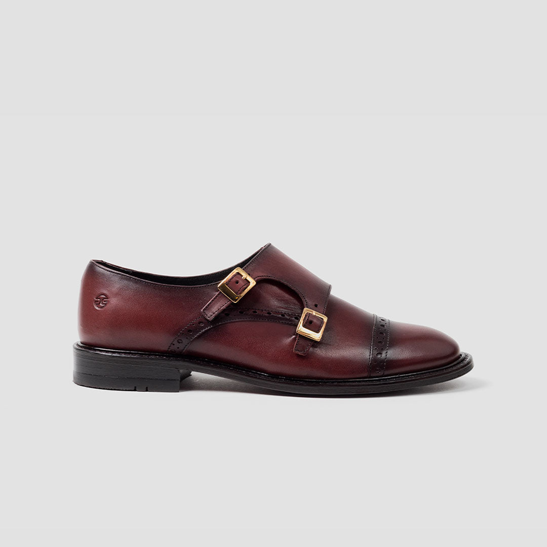Double Monk-strap punt. recta Mujer | mod. 3022 Vino