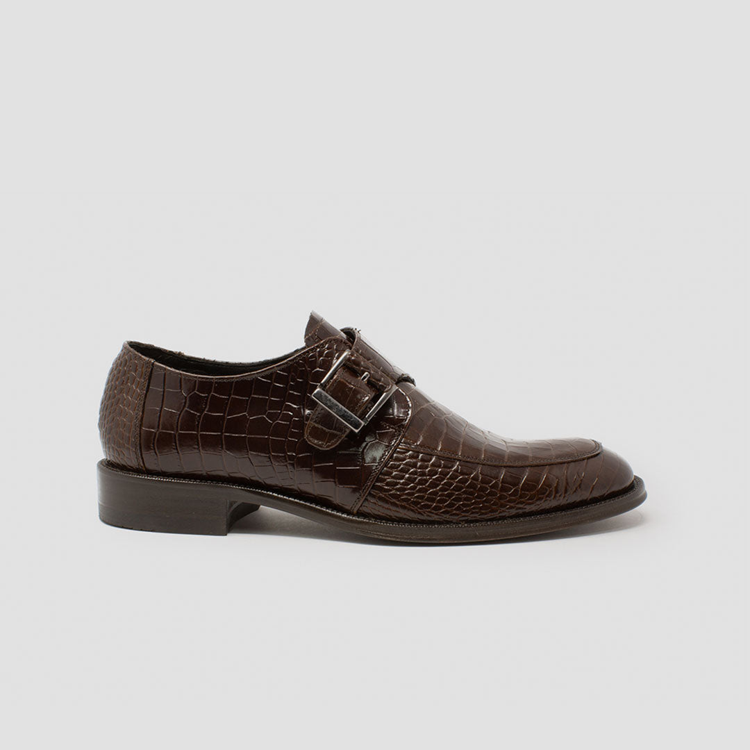 Single Monk-strap grabado croco | mod. 9131 Café