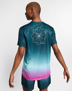 Mens Nike Running Miler Printed Shirt *.      AQ4930-496