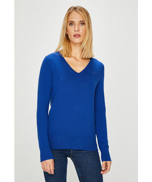 Womens Tommy Hilfiger New Ivy V Neck Sweater    Blue