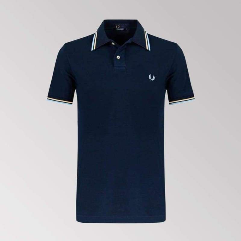 Mens Fred Perry Twin Tipped Polo Shirt     Navy Blue.   M3600-919