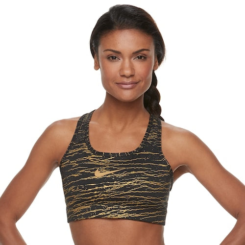 NIKE VICTORY Metallic Crackle Medium Support Bra   928872-010
