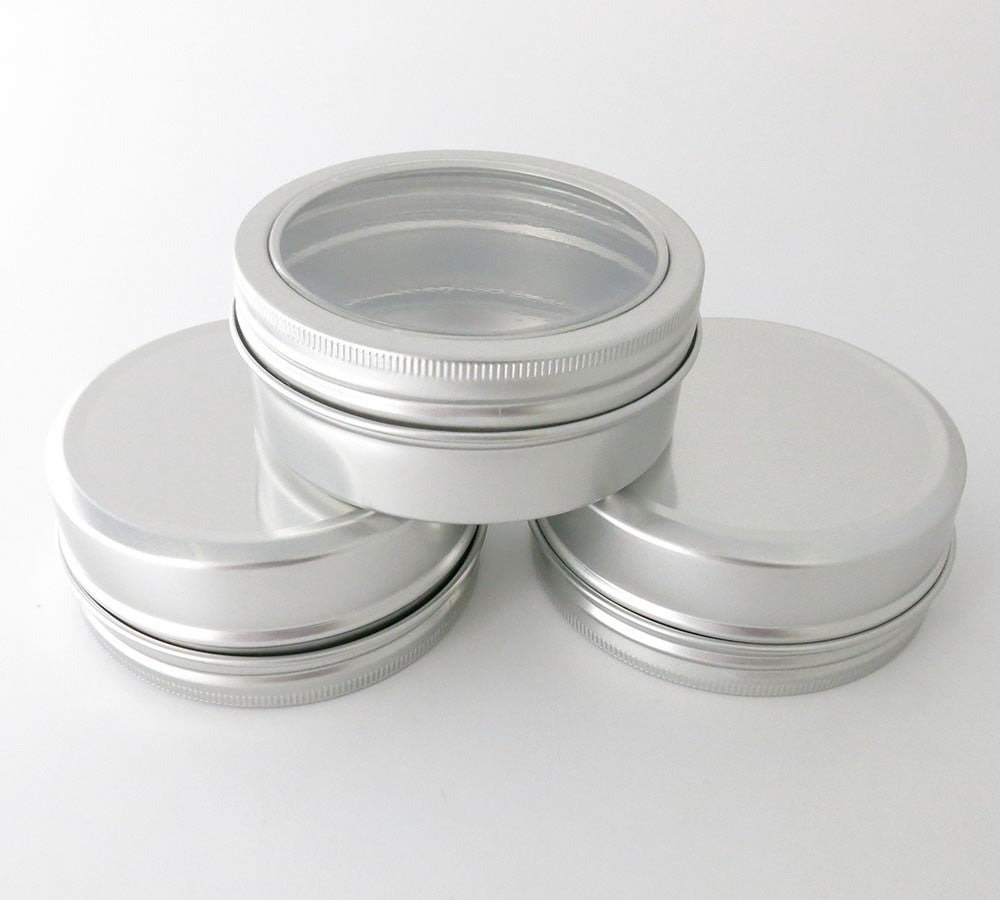 Aluminium Containers with Round Clear Window Screw Top Lid