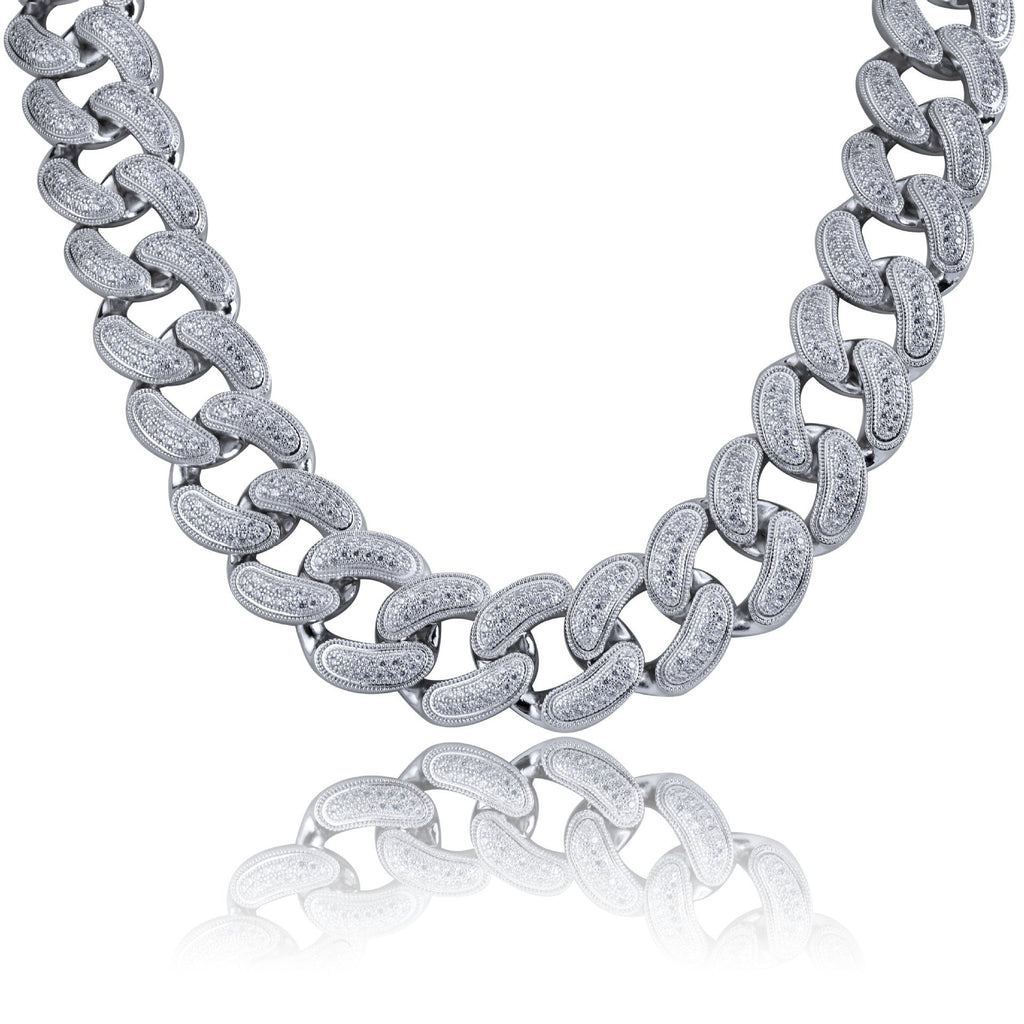 28mm Cuban Chain and Bracelet Set in White Gold