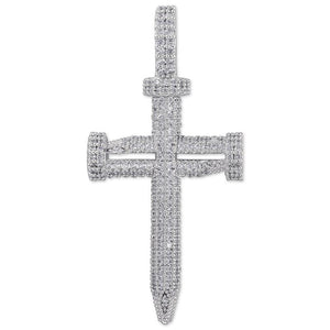 Spikes Cross Pendant in White Gold