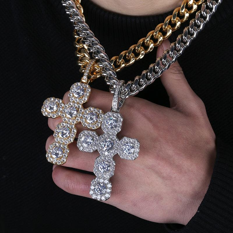 Big Baguette Cross Diamond Pendant in White Gold