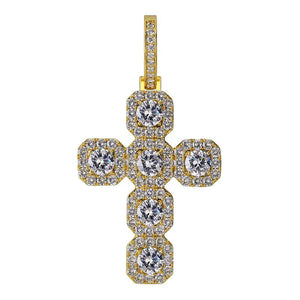 Big Baguette Cross Diamond Pendant in Yellow Gold