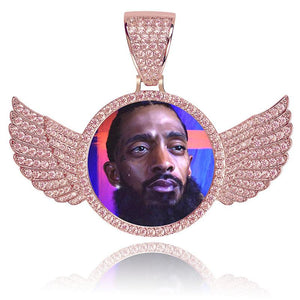 Custom Wings Pendant With Picture in Rose Gold