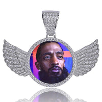 Custom Wings Pendant With Picture in White Gold