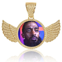 Custom Wings Pendant With Picture in Yellow Gold