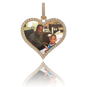 Custom Heart Pendant With Picture in Yellow Gold