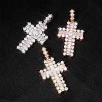 Tennis Baguette Cross Diamond Pendant in White Gold