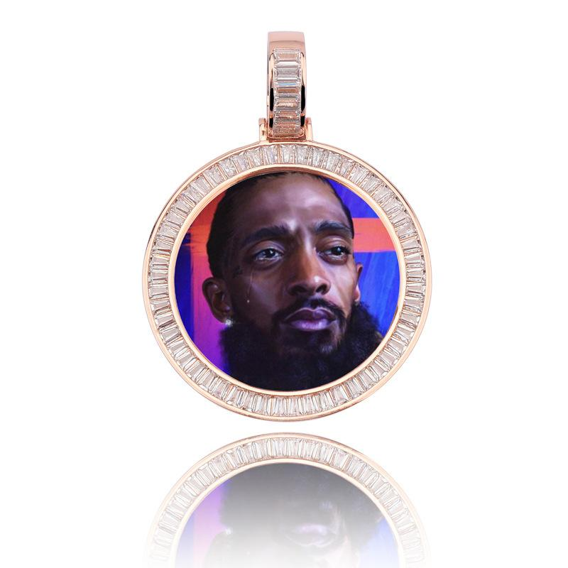 Custom Baguette Pendant With Picture in Rose Gold