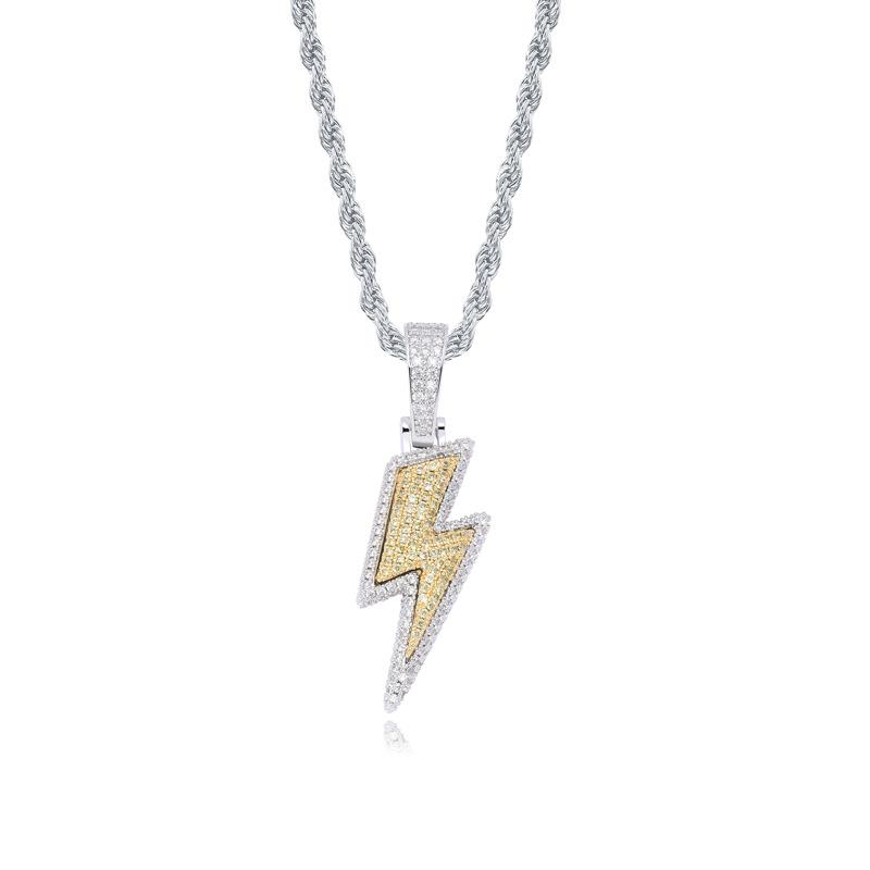 Bolt Pendant in Two Tone Gold