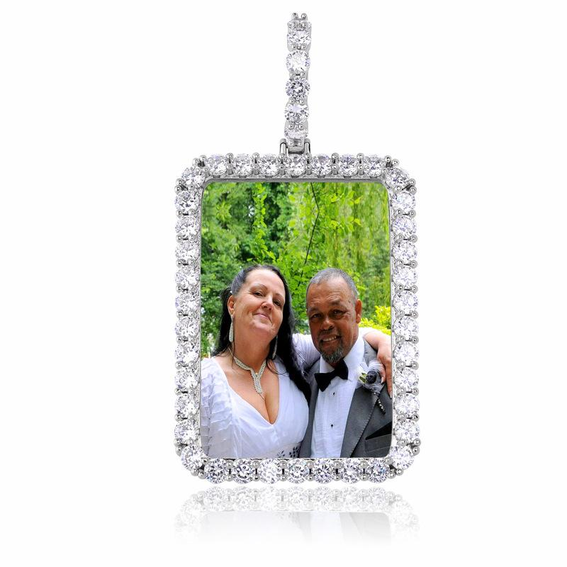 Custom Rectangular Pendant With Picture in White Gold