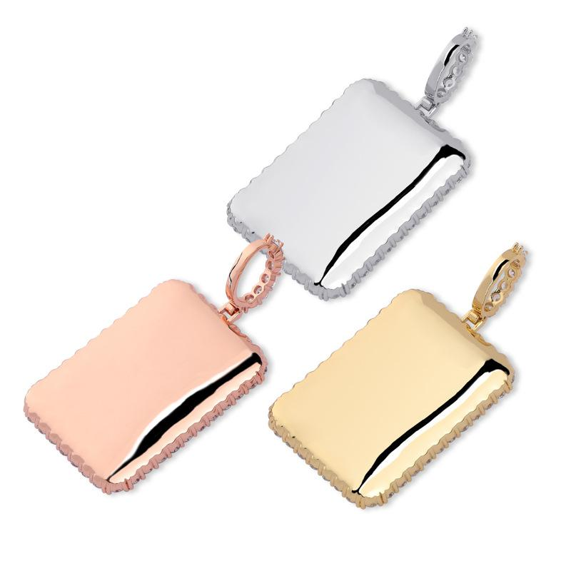 Custom Rectangular Pendant With Picture in Rose Gold