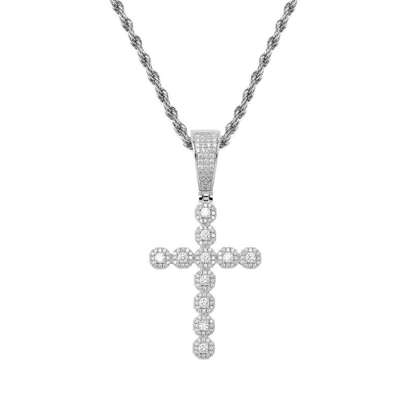 Small Baguette Cross Diamond Pendant in White Gold