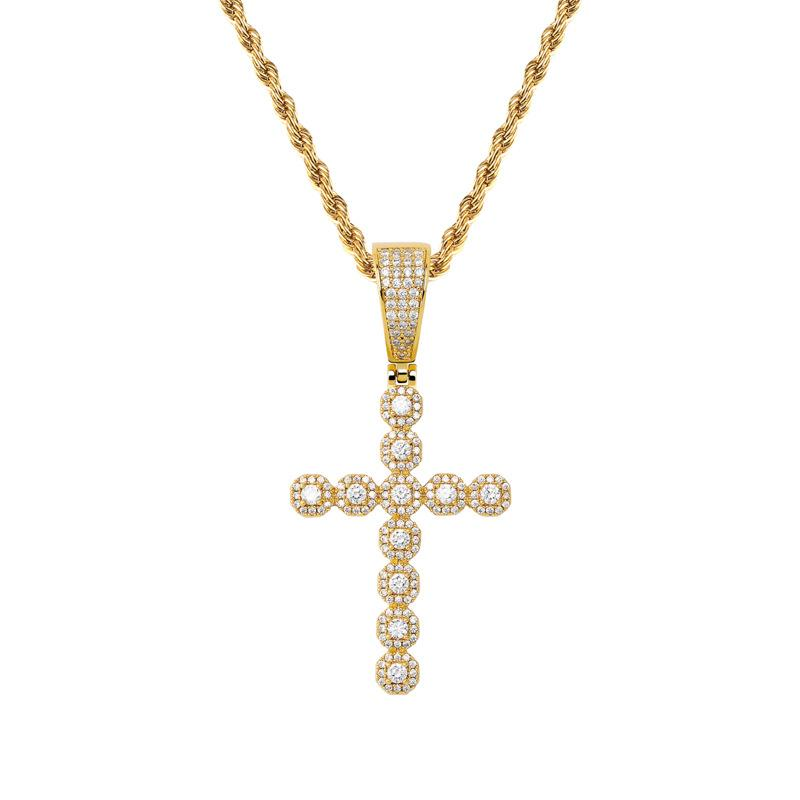 Small Baguette Cross Diamond Pendant in Yellow Gold