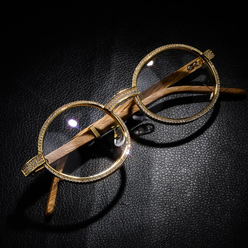 Wood Iced Out Glasses in Yellow Gold