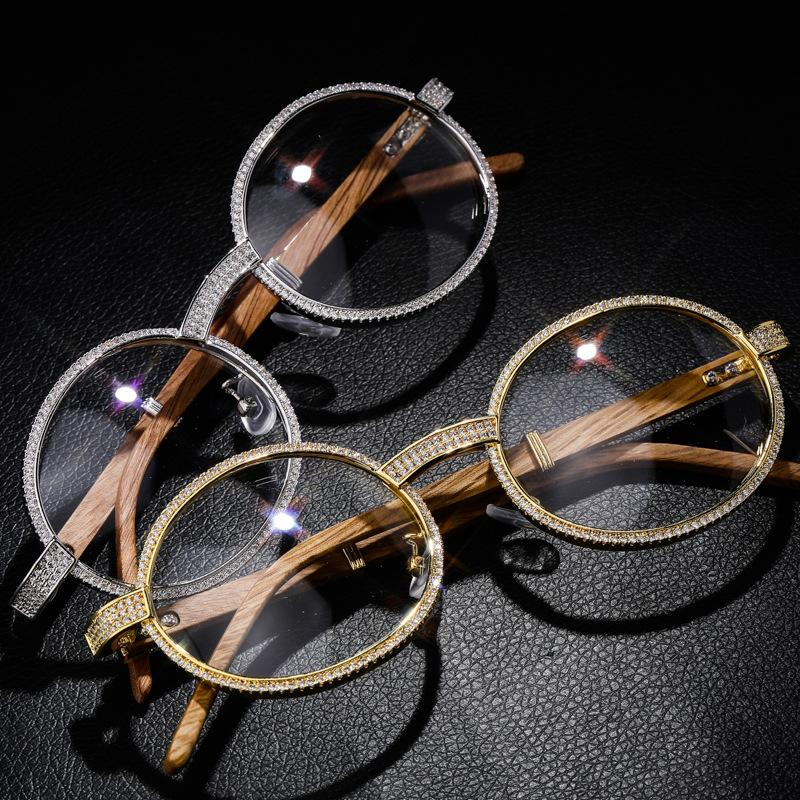 Wood Iced Out Glasses in White Gold