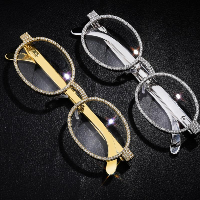 Iced Out Glasses in White Gold