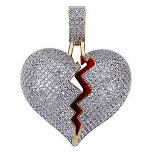 Solid Heart Broken Pendant in Two Tone Gold