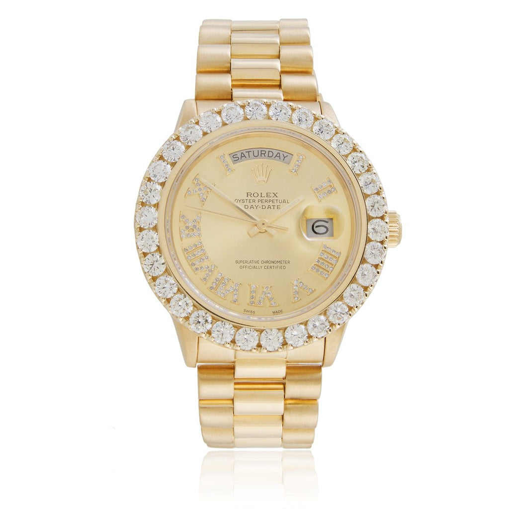 R Day Date President Diamond Bezel Automatic Watch in Yellow Gold