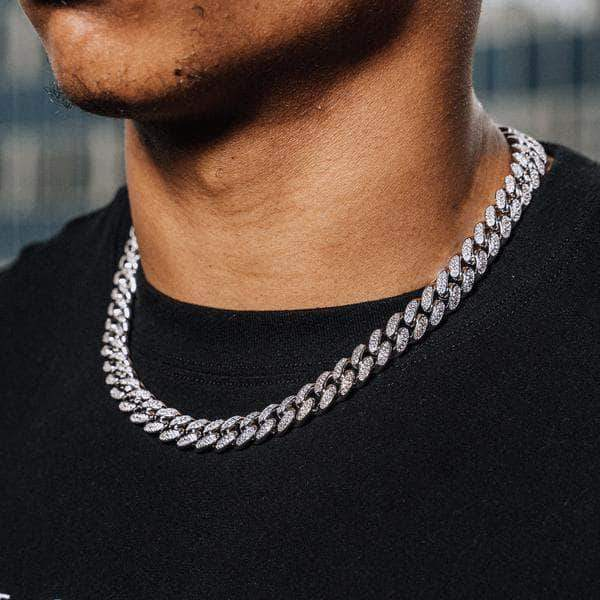 12mm Cuban Chain and Bracelet Set in White Gold