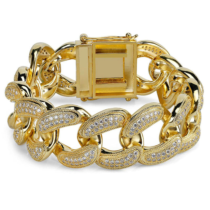 28mm Cuban Bracelet in Yellow Gold