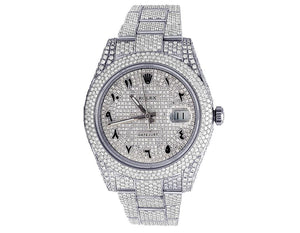 R Datejust Arabic Diamond Watch in White Gold