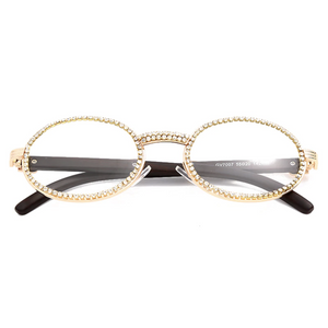 Iced Out Glasses in Yellow Gold