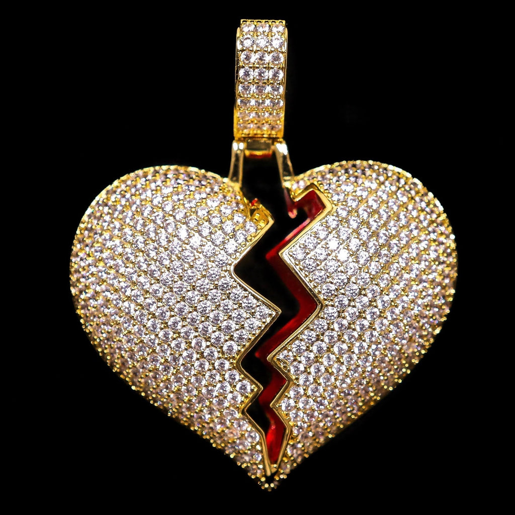 Solid Heart Broken Pendant in Yellow Gold