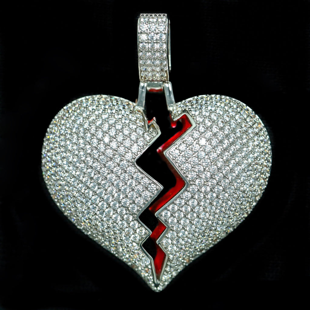 Solid Heart Broken Pendant in White Gold