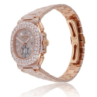 Patek P Nautilus 5980 Custom Diamond Watch in Rose Gold