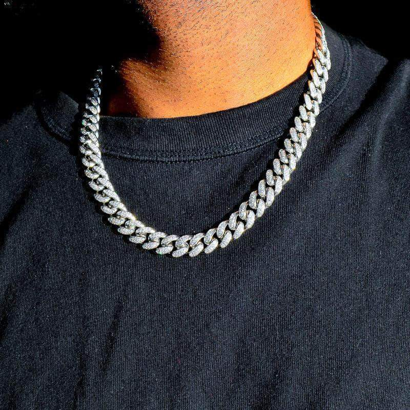 12mm Cuban Chain in White Gold