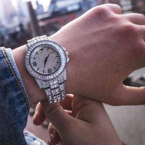 Baguette Diamond Watch in White Gold