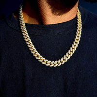 12mm Cuban Chain and Bracelet Set in Yellow Gold