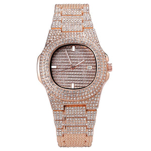 Iced Out Diamond Watch in Rose Gold