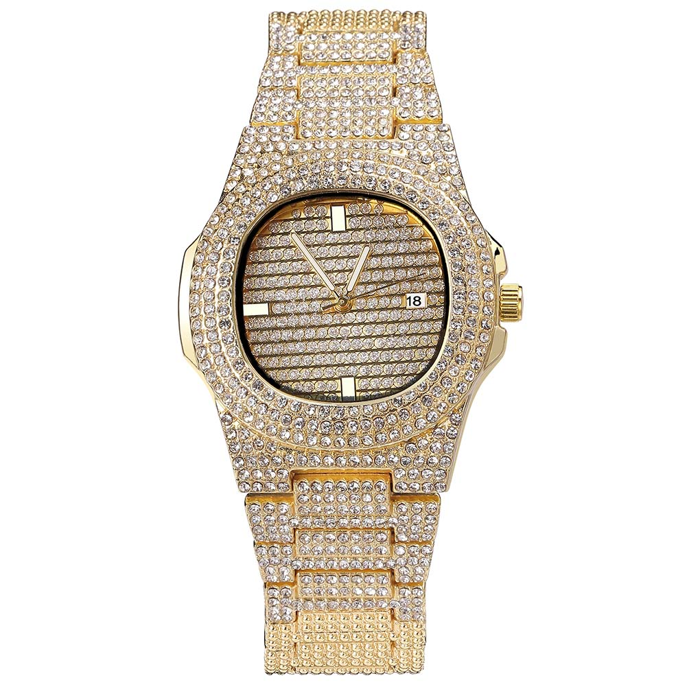 Iced Out Diamond Watch in Yellow Gold