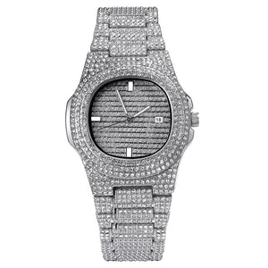 Iced Out Diamond Watch in White Gold