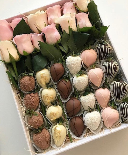 Luxury Chocolate Strawberries And Roses Gift Melbourne Chocobon