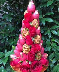Red and gold strawberry tower