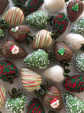 Christmas themed chocolate strawberries made in Melbourne
