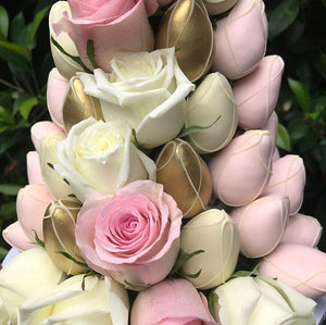 Pink, White and Gold Strawberry Tower