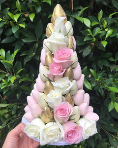Pink and White Strawberry Tower