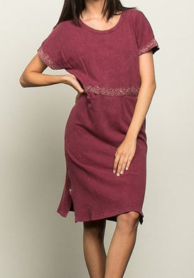 Burgundy Laced up Shift Dress