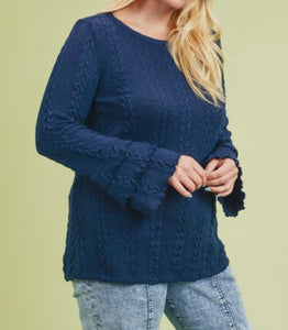 Navy Cable Knit Sweater - Plus